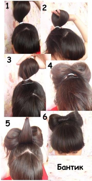 Как бант сделать из волос на голове